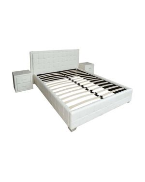 Κρεβάτι Linda Off White PU