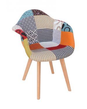 Πολυθρόνα ξύλινη Palmyra Plus2 με ύφασμα patchwork