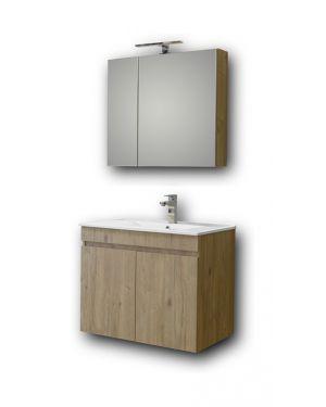 Σετ έπιπλο μπάνιου Omega Beige Oak 75