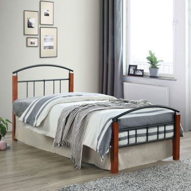 DOKA Κρεβάτι Μονό Μέταλλο Βαφή Μαύρο - Ξύλο Καρυδί