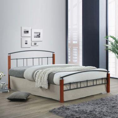 DOKA Κρεβάτι Διπλό Μέταλλο Βαφή Μαύρο - Ξύλο Καρυδί