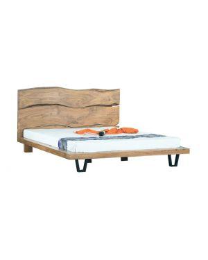ROYAL Κρεβάτι Διπλό Μέταλλο Βαφή Μαύρο - Ξύλο Ακακία Φυσικό
