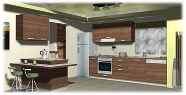 Σύνθεση μοντέρνων επίπλων κουζίνας Ιον 1