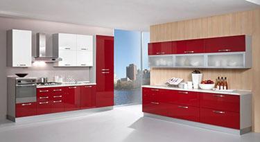 Σύνθεση μοντέρνων επίπλων κουζίνας Kira Bordeaux red-White