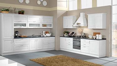 Σύνθεση κλασσικών επίπλων κουζίνας Bea 01-Bianco