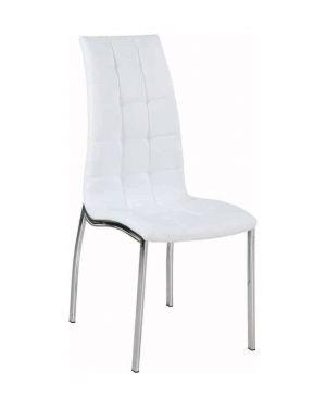 Μεταλλική νίκελ καρέκλα DC-4509 με τεχνόδερμα