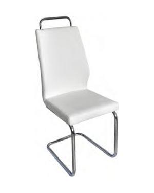 Μεταλλική νίκελ καρέκλα DC-4578 με τεχνόδερμα