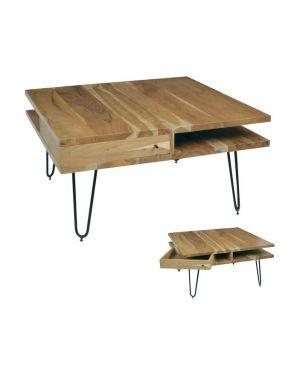 Μασίφ ξύλινο τραπεζάκι Tero με μεταλλικά πόδια